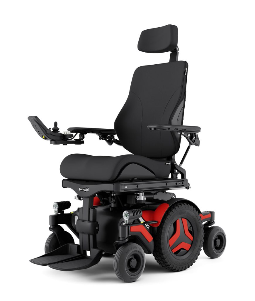 Permobil M3 powerchair in Red. Mine will be Aqua when it arrives.